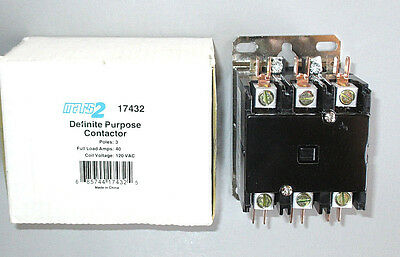 FREE PRIORITY MAIL Mars 17432 Contactor 40 Amp 3 Pole 120 Volt, 50 Amp Resistive