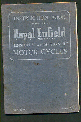 """Royal Enfield Motor Cycles """"ensign 1 & Ensign 11- Instruction Book - 1956"""
