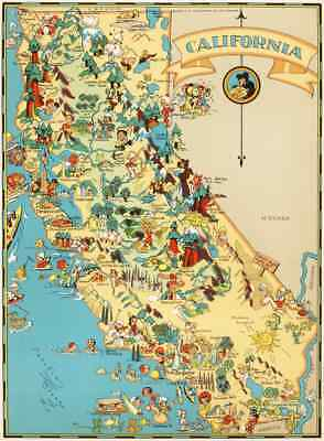 Canvas Reproduction Vintage Pictorial Map of California Print Ruth Taylor 1935