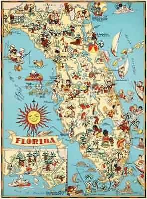 Canvas Reproduction Vintage Pictorial Map of Florida Print Ruth Taylor 1935