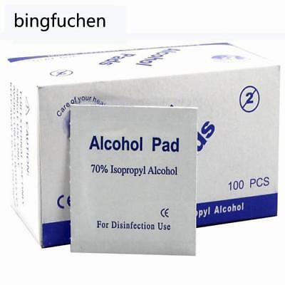 100pcs Portable Box Alcohol Swabs Pads Wipes Antiseptic Cleanser Sanitary Clean