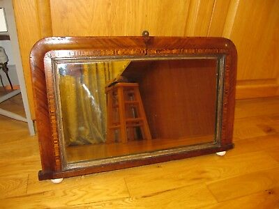 Small Antique Over Mantle Mirror With Tunbridge Style Inlay