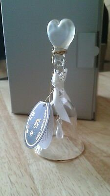 NEW in BOX Unison Gifts June Pearl Birth Heart Glass Bell with 22 kt Gold Trim