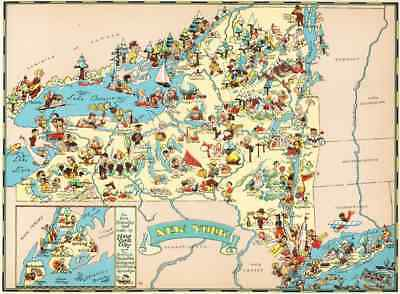 Canvas Reproduction Vintage Pictorial Map of New York Print Ruth Taylor 1935