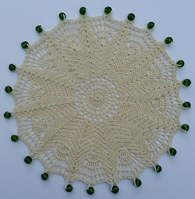 Crocheted & Beaded Jug Cover with Faceted Green, Depression Style Glass Beads