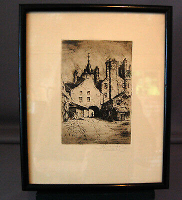 Scottish ART Etching by George Huardel-Bly  Tolbooth Wynd Edinburgh Artist Proof