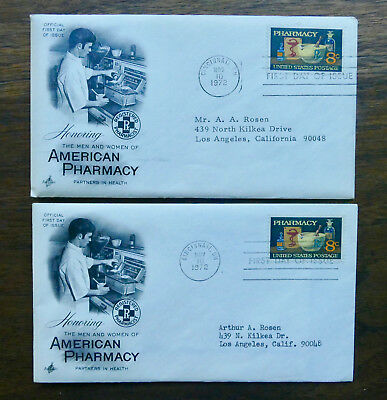 AMERICAN PHARMACY PHILLIPS ROXANE 8 Cent First Day Issue 2 Envelopes 1972 Excell