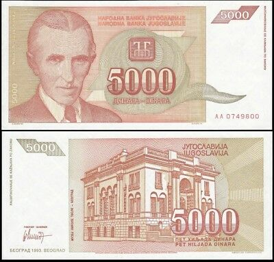 YUGOSLAVIA 5,000 (5000) Dinara, 1993, P-128, World Currency