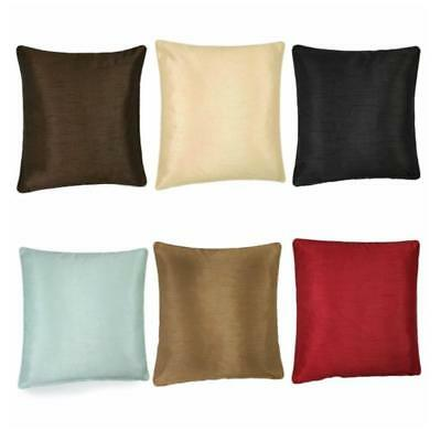 """NEW SET OF 4 PLAIN FAUX SILK SATIN SHINE SCATTER SQAURE CUSHION COVERS 17""""x17"""""""