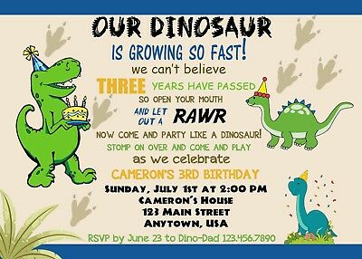 Dinosaur Birthday Invitation Dinosaurs Invitations