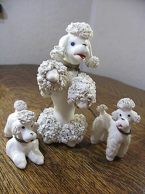 "Vintage Collectible Spaghetti Poodle Dog Figurine Family Set White 1950's ""W"""