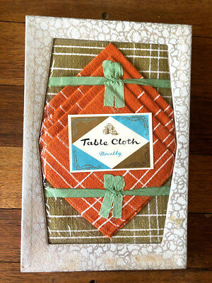 New Boxed Vintage Retro Linen - Table Cloth and Napkins