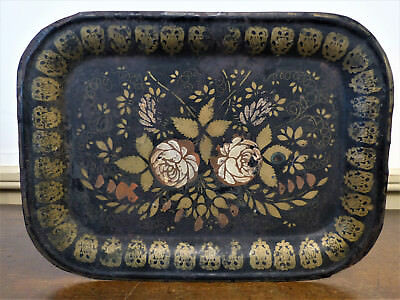Antique EARLY 19th C PA  Lancaster FOLK ART PAINT Toleware TIN Tinware TRAY #2