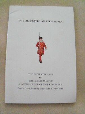 Dry Beefeater Martini Humor: Rare 1962 Joke Book, Ancient Order of the Beefeater