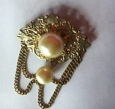 """Vintage Gold Tone W / Pearls  2.25""""x 3""""  Clothes Pin Brooch"""