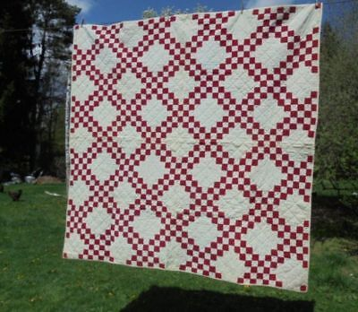 1800's Antique DOUBLE IRISH CHAIN QUILT Red & White BEAUTIFUL NR!
