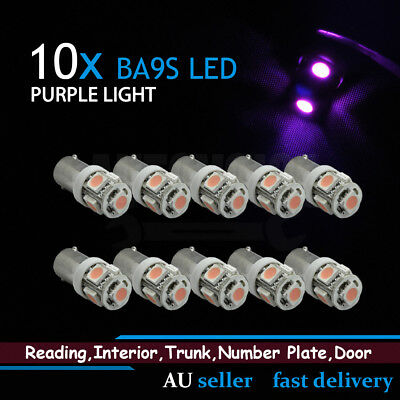 10x Purple Pink T11 T4W BA9S Bayonet 5 SMD LED Light Car Interior Dome Map Globe