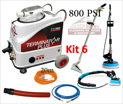 Polivac Terminator Plus Kit 6 Carpet Wet Extraction Tile Grout Cleaner 800 PSI