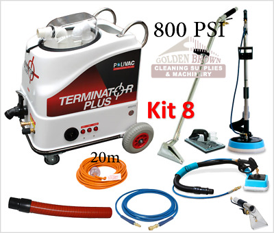 Polivac Terminator Plus Kit 8 Carpet Wet Extraction Tile Grout Cleaner 800 PSI
