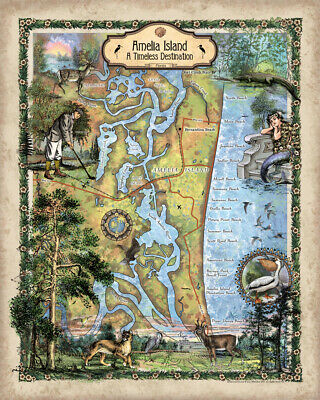 Amelia island St. Augustine map Florida gifts beach house florida decor signs