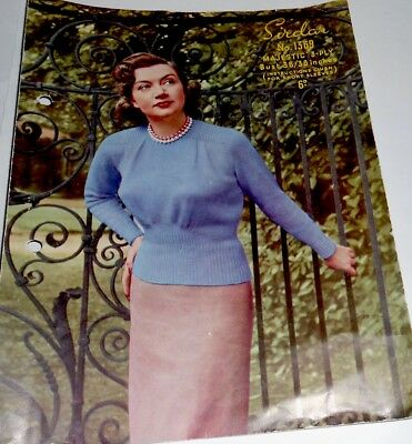 Genuine 1940s Knitting Pattern For A Ladies Jumper In 3 Ply Wool