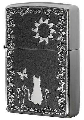 Zippo Cute Cat Flower Butterfly Gray Both Sides Metal Plate Japan Limited F/S