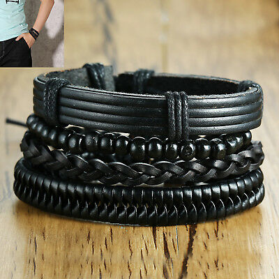 Fashion Men Punk Cuff Charm Rope Braided Bracelet Bangle Wristband Jewelry Gift
