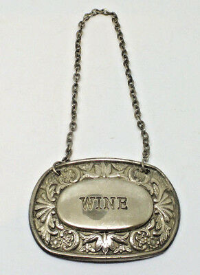 Vintage  Silver Plated Wine Bottle Label & Chain Bottle Tag Ianthe England
