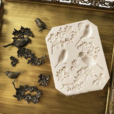 Bird Silicone Fondant Mould Cake Animal Tree Flowers Chocolate Baking Icing Mold