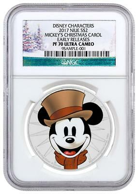 2017 1 oz. Silver Colorized Proof $2 Coin NGC PF70 UC ER Mickey Holiday Label