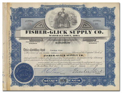 Fisher - Glick Supply Co.Stock Certificate (Marshalltown, Iowa)