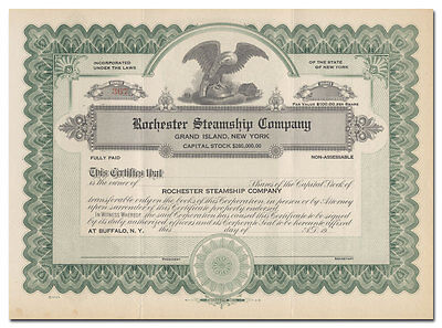 Rochester Steamship Company Stock Certificate (Grand Island, New York)