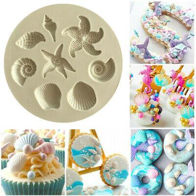 Sea Shell Silicone Fondant Mould Cake Sugarcraft Starfish Decorating Icing Mold