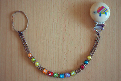 BROWN Personalised dummy clip chain pacifier holder soother holder with any name