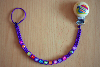 PURPLE Personalised dummy clip chain pacifier holder soother holder with name