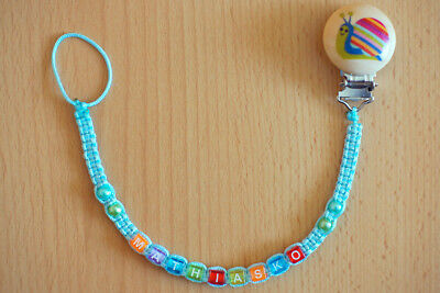 TURQUOISE Personalised dummy clip chain pacifier holder soother holder with name