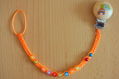 ORANGE Personalised dummy clip chain pacifier holder soother holder with name