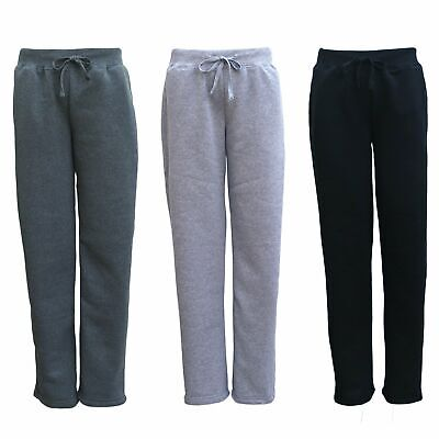 New Womens Ladies Fleece Lined Wide Leg Sweat Track Pants Jogger Sports Trackies