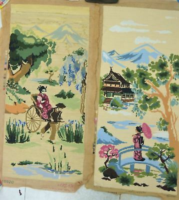 COMPLETED ORIENTAL SCENE TAPESTRIES - both 88x39cm - ready for framing