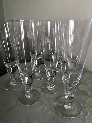 Vintage Etched Footed Pilsner Style Beer Glasses 8 inches Tall.  Set 0f 7