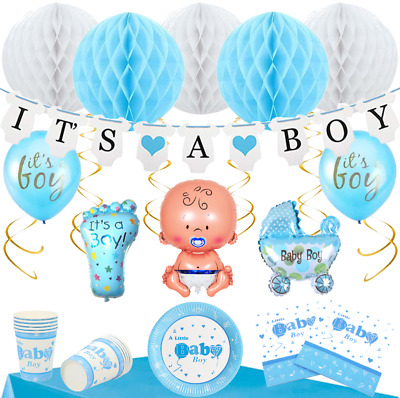Baby Shower Deko Set 15 Personen - Party Set It's A Boy Junge Babyparty Blau