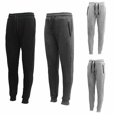 Men's Fleece Lined Jogger Track Sweat Pants w Elastic Hem Causal Sports Trackies