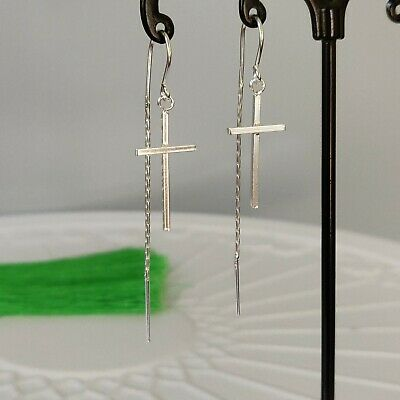 925 Sterling Silver Cross Hook Chain Pull Through Threader Earrings in Box