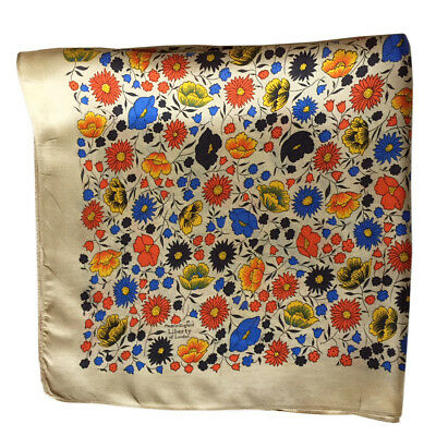 VTG LIBERTY of LONDON Vibrant Floral Print Silk Scarf 24-inch Square