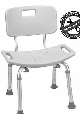 Vaunn Medical Tool-Free Spa Bathtub Adjustable Shower Chair Seat Bench w/ Back