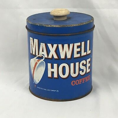 Vintage Maxwell House Coffee Can 1lb Rusty Gold