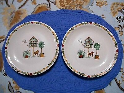 THOMSON POTTERY CHINA Birdhouse Plates 2 Salad or Pie Plates 7.75 ...