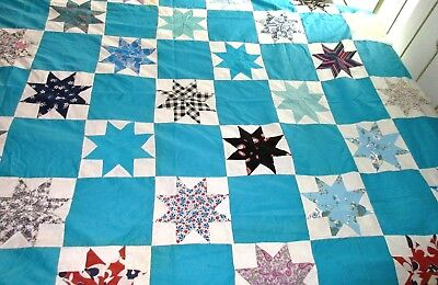 Vintage Hand Sewn Star Patchwork Quilt Top - Full Size - 74 Inches by 84 Inches