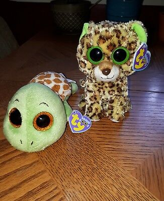 Retired TY Beanie Boos Sandy Turtle & Speckles Cheetah tags attached
