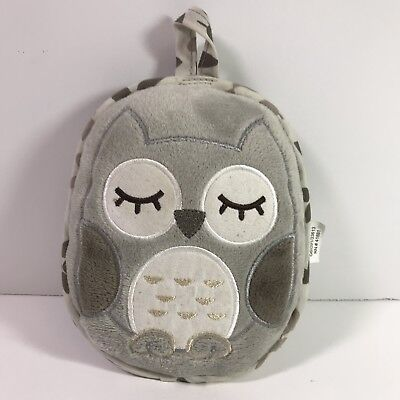 Eddie Bauer Sleeping Vibrating Gray Owl Portable Baby Soother Pillow Toy